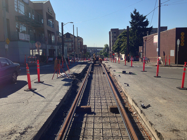 First Hill Streetcar yard lead track construction on 8th Ave, south of Weller St. • Photo by Gordon Werner