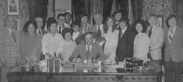 On February 26, 1974, the 43rd Washington State Legislature formally created the Washington State Commission on Asian American Affairs as a state agency. In 1995, Governor Mike Lowry signed a bill to change the Commission's name to The State of Washington Commission on Asian Pacific American Affairs to include Pacific Islanders. • Courtesy Photo