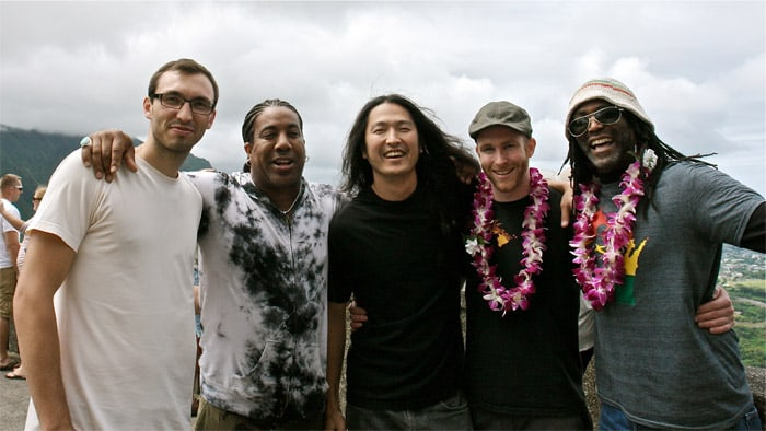 At the Pali Lookout on the first Kore Ionz tour to Hawai'i, August 2011.  Left to right: Teo Shantz, Thaddeus Turner, Daniel Pak, Kiley Sullivan, and Ahkeenu Musa. • Photo by Gary Pak