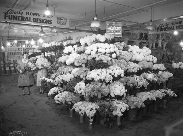 Japanese-American–owned Liberty Flower Shop at Pike Place Market, ca. 1931. • Photo courtesy of  Washington State Historical Society