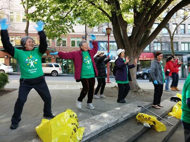 """Tweeted by Asian Counseling and Referral Service's Twitter account (@ACRSNews): """"EVERYONE gets involved in the #ccday #Zumba warmup!"""""""