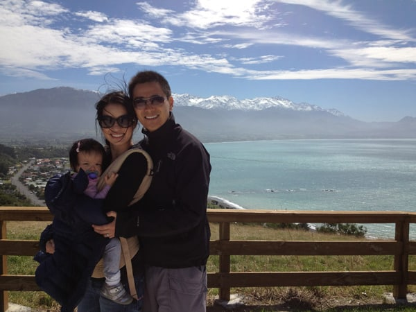 """David Niu takes his first """"Careercation"""" in New Zealand with his wife, Alice, and daughter, Keira. Here they visit the scenic town of Kaikoura. • Photo courtesy of  TINYpulse"""