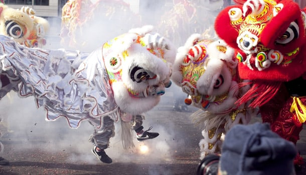 Lion dancers at a previous year's Dragon Fest. • Courtesy Photo