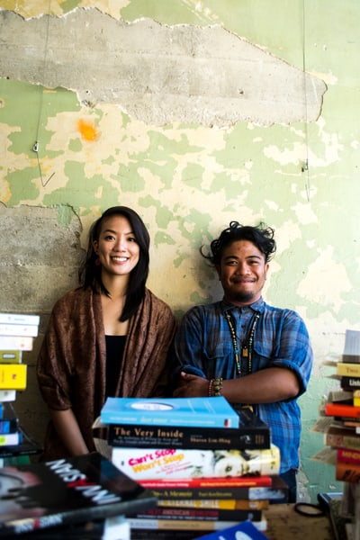 Sabrina Chen and Derek Dizon, creators of the API Flying Bookshelf. There will be a launch party at Eastern Café on Thursday, July 17 at 6:00 p.m. that is open to the public. • Photo by Angelo Salgado
