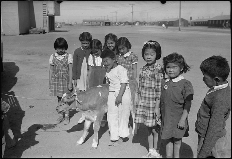 Elementary students at the Tule Lake Segregation Center. • Above photo provided by the U.S. National Archives and Records Administration.  Photos below by Tamiko Nimura.