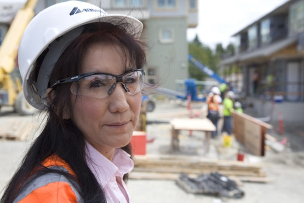 Worker Sylvia Sabon benefited from a community hiring agreement on Sound Transit and she's working with Got Green to get Priority Hiring passed. • Photo by Inye Wokoma, Ijo Media Arts