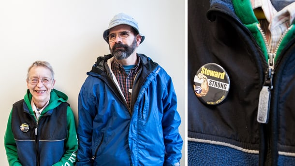 "Paula Lukaszek (left) and Doug Nielson (right) work together in order to gather support for UW custodians. Lukaszek dons a ""Steward Strong"" button, because she defends custodians who get in trouble at grievance hearings.  • Photo by Kseniya Sovenko"