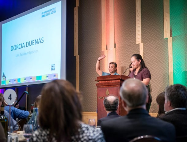 Dorcia Duenas and her family were once homeless but have since moved into LIHI housing. Dorcia was a feature speaker at the LIHI Gala on October 24 at the Four Seasons Hotel. • Courtesy Photo
