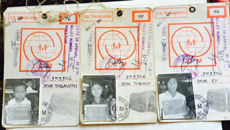 Charles Som Nguyen's photograph (1984) of his grandma, mother, and uncles' ID cards to go to the United States.
