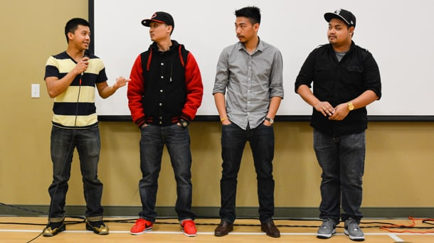 From left to right: Jack Choulaphan, Kenny Setiao, Jordan Amorasin, and Bobby Keoloungkhoth answer questions surrounding their documentary film, Across the Mekong, after the screening of the documentary. • Photo courtesy of ACRS