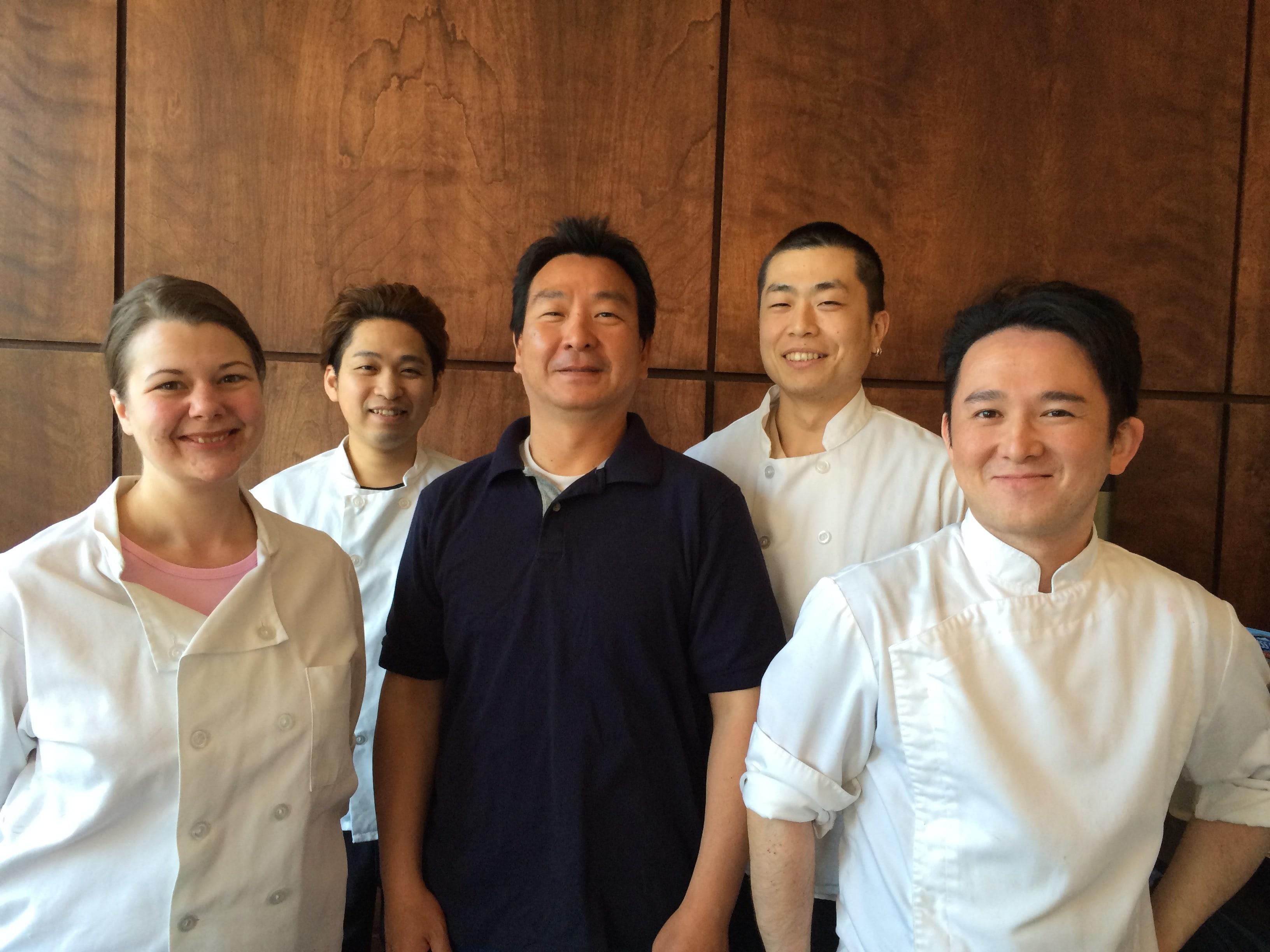 Left to right: Amanda Burchett (head chef and bakery manager), Takanobu Ogisu (head of breads), Akihiro Nakamura (owner), Koji Masuda (sales and helped translate for Ogisu), Yushi Osawa (head of pastries). • Courtesy Photo
