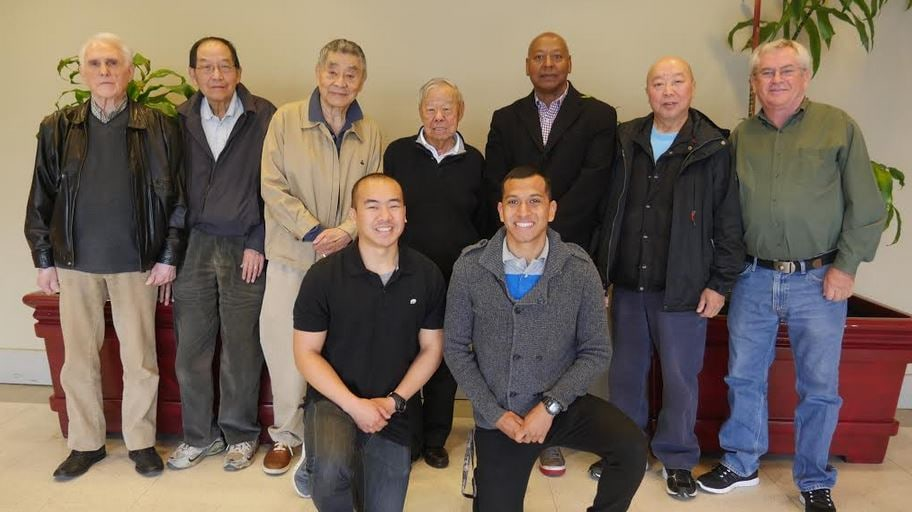 Cathay Post members gather before a May 16 meeting at the New Hong Kong Restaurant. Post members are pictured in back row, from left: Tom Lehning, Dick Kay, Bill Chin, Lip Mar, Francis Gregory, Jackson Chan and Terry Nichols. Front row (from left): Seattle University Army ROTC members Casey Madayag and Jose Quintanilla. • Photo by Tuyen Kim Than