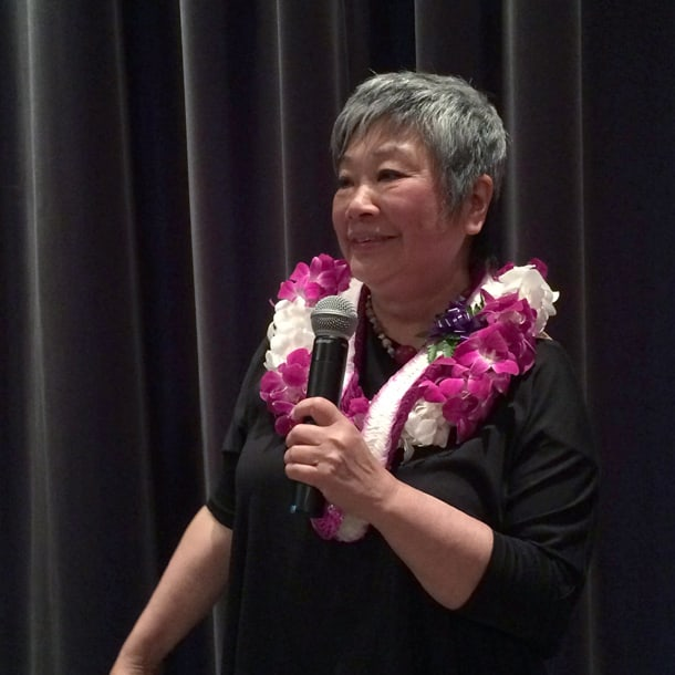 "Sharon Maeda speaks at ""Legacy of Leadership"" on May 13. • Photo by Lexi Potter"