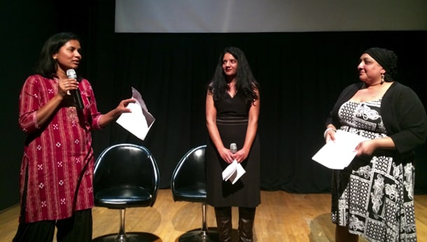 Left to right: Tasveer Executive Director Rita Meher, Laila Kazmi from KCTS 9, and Festival Director Kiran Dhillon at a sneak preview for SSAFF's upcoming films, which will start screening on October 15, 2015. • Photo by Lexi Poter
