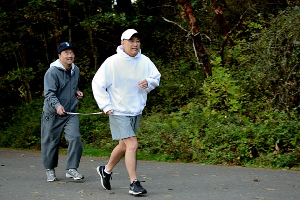 Al Sugiyama says and friend Tim Tsubahara, who is now blind, have run five miles together at Seward Park every Sunday for over 30 years. • Photo by Isaac Liu