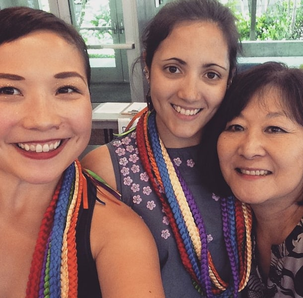 From left to right: Gabrielle Nomura-Gainor JACL Seattle board member, Sarah Baker JACL Seattle president-elect, and Marsha Aizumi PFLAG National board member and author of Two Spirits One Heart. • Courtesy Photo