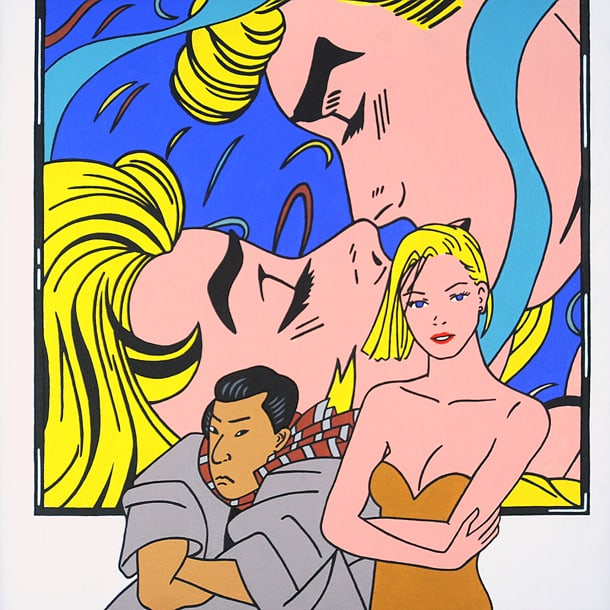 ROGER SHIMOMURA, GREAT AMERICAN MUSE #48, 2015, Acrylic on canvas, 24 x 24 inches. • Courtesy of Greg Kucera Gallery