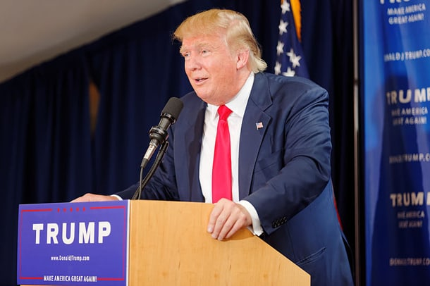 Donald Trump at a rally in Laconia, NH on July 16, 2015. • Photo by Michael Vadon