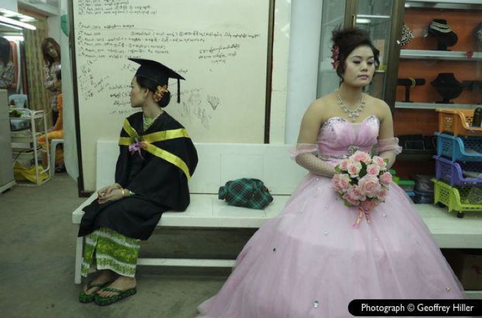 Graduate and bride at beauty salon in Meiktila, 2013. • Photo courtesy of Geoffrey Hiller