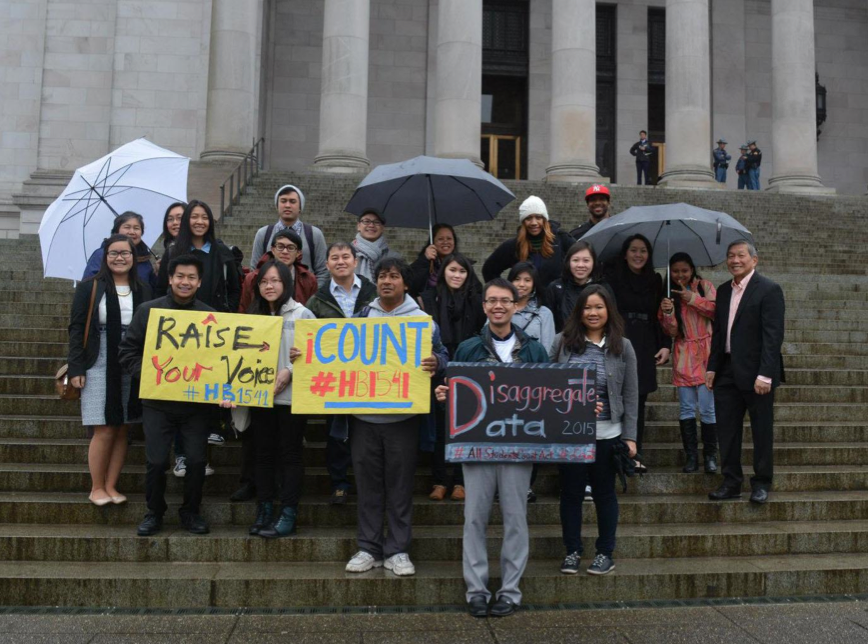 On API Legislative Day 2015, members of SEA³eD gather in support of a bill on data disaggregation sponsored by Washington State Representative Sharon Santos. The bill has not passed in the Washington state legislature, though it led to efforts toward data disaggregation on the city level. • Photo courtesy of SEA³eD