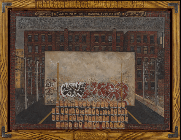 """Martin Wong's """"Attorney Street"""" (Handball Court with Autobiographical Poem by Pinero), 1982-1984. Oil on Canvas. 35.5 x 48 inches. Collection of The Metropolitan Museum of Art, Edith C. Blum Fund."""
