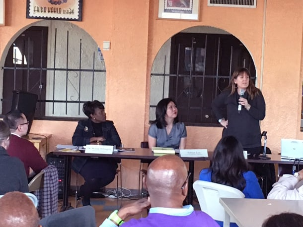 From left of table, Dr. Wanda M. Billingsly, Sukien Luu, and Jennifer Harris discuss federal and state law on school discipline. • Photo by Danish Mehboob