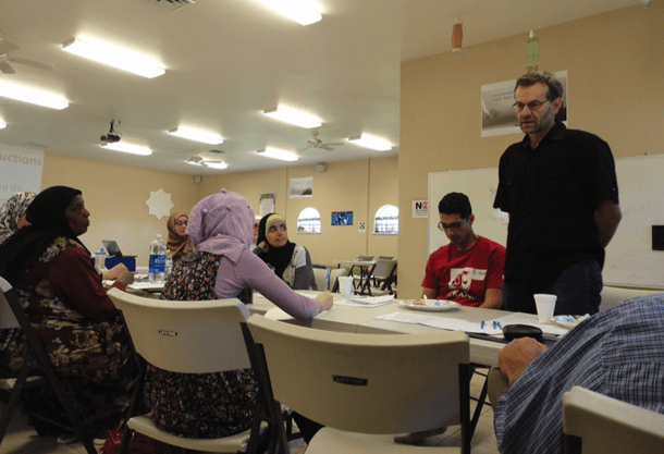 Working with Media Workshop, participants introduce themselves at the Council of American Islamic Relations Washington State training. • Photo by Danish Mehboob