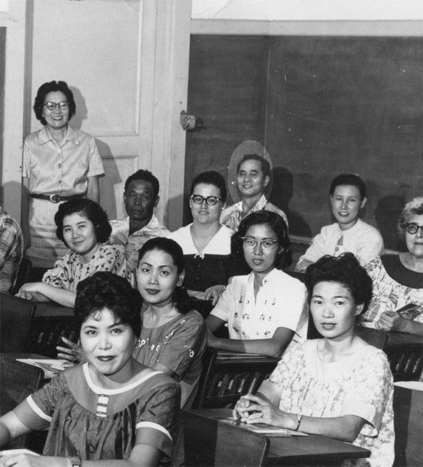 Bob Shimabukuro's father Zenshu Shimabukuro, in the back corner of the class room, highlighted. • Courtesy Photo