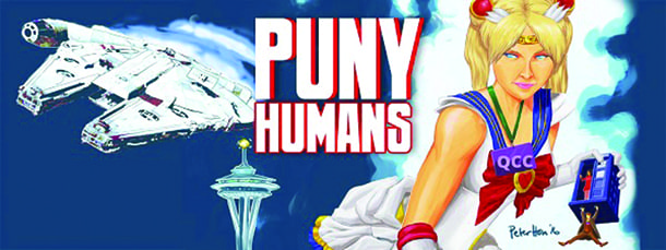 Promotional art for 'Puny Humans,' which runs through May 14 at Annex Theatre.