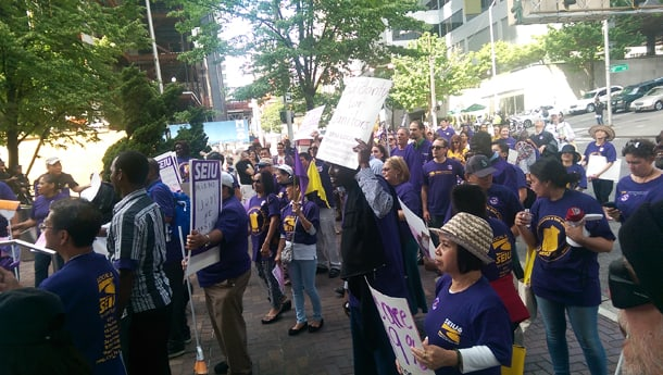 The May 13, 2016 rally in Downtown Seattle was part of the Justice for Janitors national movement. •Photo by Izumi Hansen