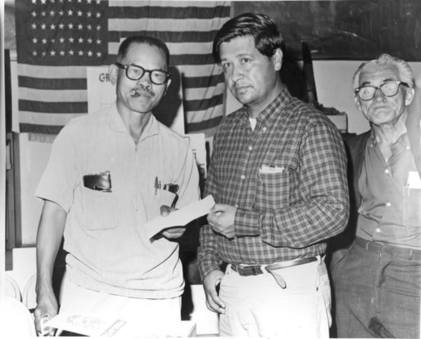 Larry Itliong and Cesar Chavez in Delano Manongs.