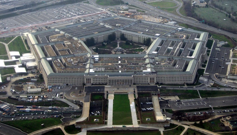 The Pentagon, headquarters of the United States Department of Defense, taken from an airplane in January 2008. Photo by David B. Gleason.