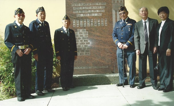 Cathay Post #186 also holds a Memorial Day program every year, honoring the 10 Chinese Americans from Seattle who gave their lives during World War II. They place wreaths and the Chinese American war memorial in Hing Hay Park. • Archival Photo