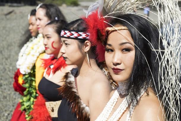 Polynesian dance teacher Kalei'okalani Onzuka (right) with dancers from Hura•iti Mana. • Courtesy Photo