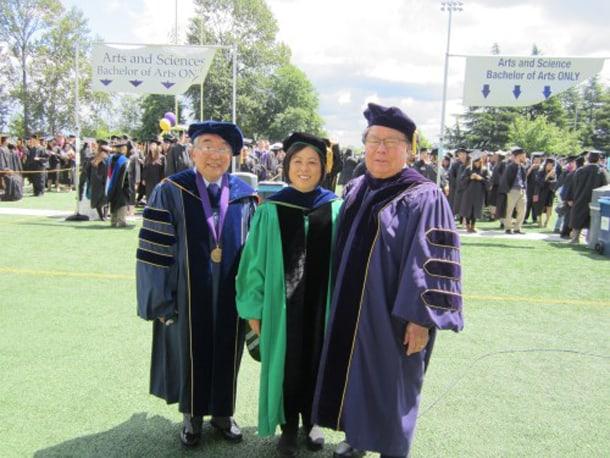 UW emeritus professors Tetsuden Kashima, Gail Nomura, and Stephen Sumida at the 2015-2016 graduation ceremony at UW Husky Stadium. • Photo courtesy of Tetsuden Kashima