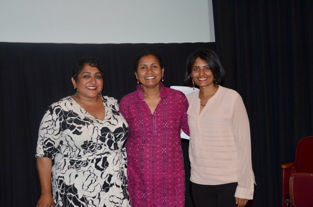 Left to Right: SSAFF Director Kiran Dhillon, Tasveer Executive Director Rita Meher, and SSAFF Co-Director Madhuri Kudaravalli at a sneak preview for SSAFF's upcoming films, which will start screening on October 14, 2016. • Photo by Tasveer