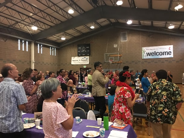 """Over 200 attended the """"Sensei-tional 3"""" celebration to honor the retirement of three Asian American Studies professors on August 27, 2016. • Photo by Tamiko Nimura"""