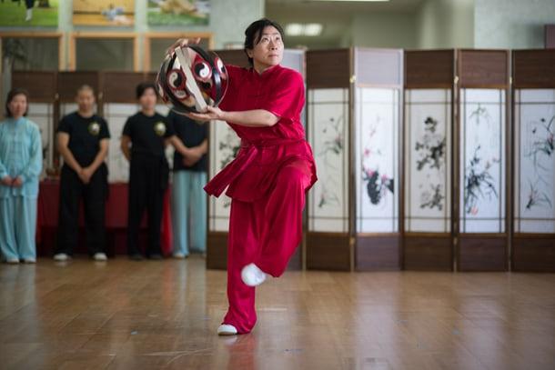 Dr. Lu Mei-Hiu demonstrates the Wudang tai-chi form. • Photo by Nick Wong