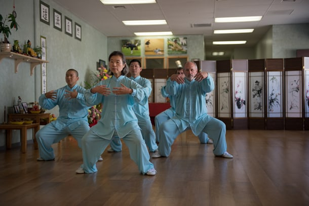 Students of the International Wudang Internal Martial Arts Academy demonstrate the school's forms. • Photo by Nick Wong