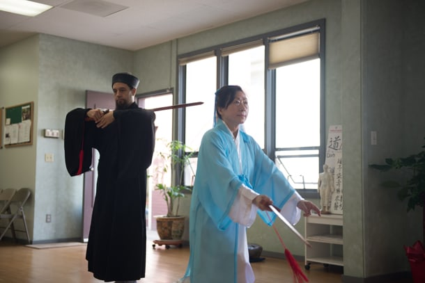 Head instructors Dr. Lu Mei-Hiu and Master Chang Wu Na perform a Daoist ritual during the grand re-opening of their school, The International Wudang Internal Martial Arts Academy. Both instructors are ordained Daoist priests and incorporate its teachings at the school. • Photo by Nick Wong